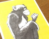 Postcard Illustration A6 Animal Motif Monkey in A6 Format - Eco-Conscious Riso Print (Risography, Handmade)