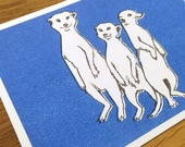 Postcard Illustration A6 Animal Motif Meerkat in Format A6 - Eco-Conscious Riso Print (Risography, Handmade)
