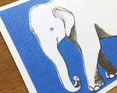 Postcard Illustration A6 Animal Motif Elephant in Size A6 - Ecoconscious Riso Print (Risography, Handmade)