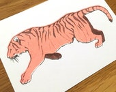 Postcard Illustration A6 Animal Motif Tiger in A6 Format - Riso Print (Risography, Handmade)