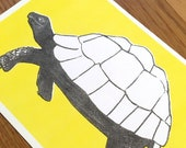 Postcard Illustration A6 Animal Motif Turtle in A6 Format - Eco-Conscious Riso Print (Risography, Handmade)