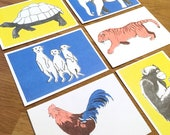 Set of 6 Eco-Friendly Postcards with Animal Illustrations - Motif Monkey Turtle Rooster Tiger Meerkat Elephant - RisoPrint