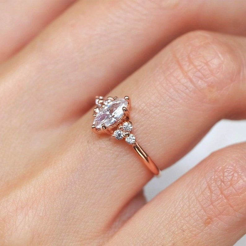 marquise wedding ring marquise engagement ring topaz diamond engagement ring cluster ring marquise ring diamond ring white topaz ring