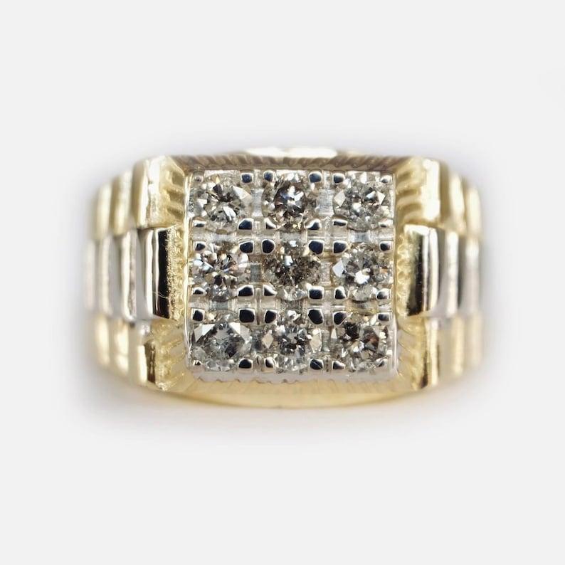 Diamond Signet Ring Signet Rings For Men Mens Signet Ring Etsy