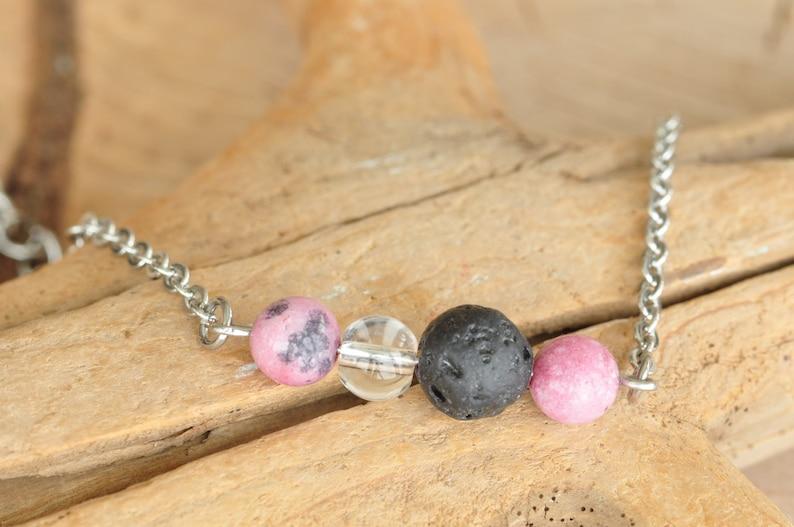 lava stone rhodonite,quartz aromatherapy bracelet delicate bracelet BRACELET stainless steel diffuser with semi-precious stones