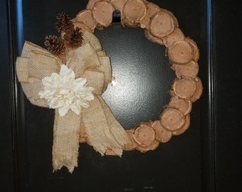 Wood slice Rustic wreath