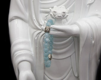 8mm Aquamarine Stone Bracelet with Stainless Steel Buddha Head Accent Pieces