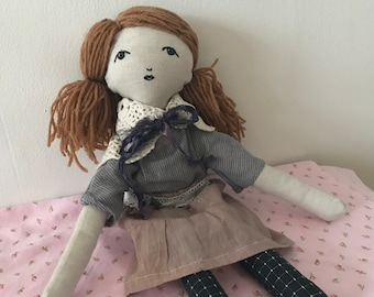 Adele -- Handmade rag doll created with upcycled and thrifted materials with hand embroidered face.