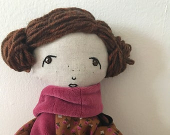 Portia -- Handmade rag doll created with upcycled and thrifted materials with hand embroidered face.