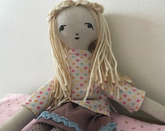 Lily -- Handmade rag doll created with upcycled and thrifted materials with hand embroidered face.
