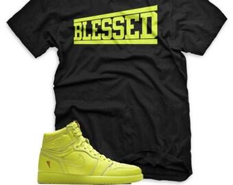 379bff4dcc00 Blessed T Shirt for Jordan 1 Retro Cyber Yellow Lime Gatorade Purple Blue  Orange