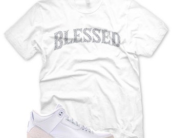 c1d353075f2229 White BW BLESSED T Shirt for Jordan 3 Pure Money Triple White Cement Ice