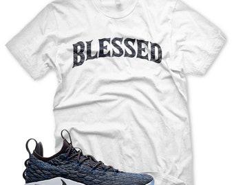 separation shoes 9f228 8ffed Neue BW-T-Shirt für Nike Lebron 15 Signal blau Thunder grau gesegnet