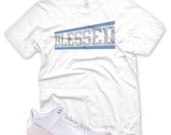 san francisco c540c 1c741 White OG BLESSED T Shirt for Jordan 3 Pure Money Triple White Cement Ice
