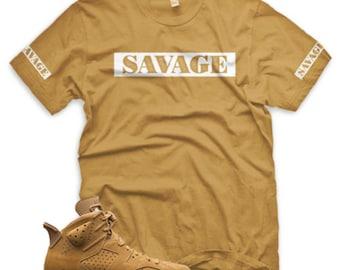 8d63a19bef8996 WHEAT SAVAGE T Shirt for Jordan Golden Harvest 6 OG Wheat Elemental Gold 1  13