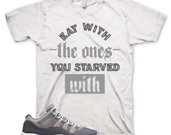 e7af944efa0 White STARVED T Shirt for Jordan 11 XI Cool Grey Low 1 2 3 4 5 6 7 8 9 10  12 13