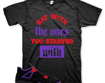 b41bd67b1d4f71 Black STARVED T Shirt for Jordan 4 NRG Raptor 7 Purple Red Black