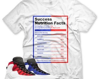 9eecefc7d09726 White SUCCESS NUTRITION FACTS T Shirt for Jordan 10 Westbrook Red Royal  Class of 2006