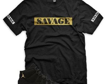 1ecbd2916554 New SAVAGE T Shirt for Jordan 11 Heiress Retro PRM XI Stingray Black