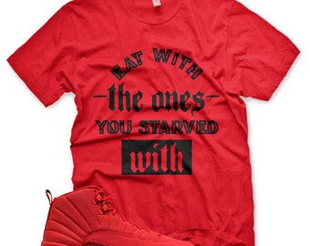 8f0b6b31e23af2 New STARVED T Shirt for Jordan 12 XII Bulls Gym Red Bred