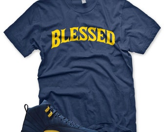24bdb00e9560 New Navy bw BLESSED T Shirt for Jordan Retro 12 XIII Michigan PE M