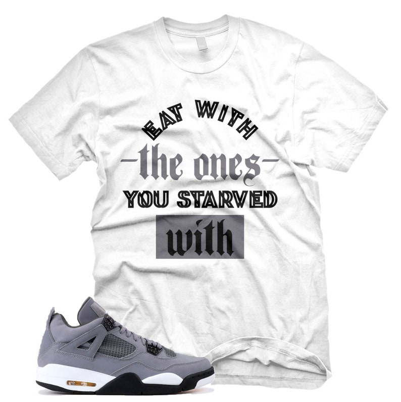01f714dfd735f New White STARVED T Shirt for Jordan 4 IV Cool Grey