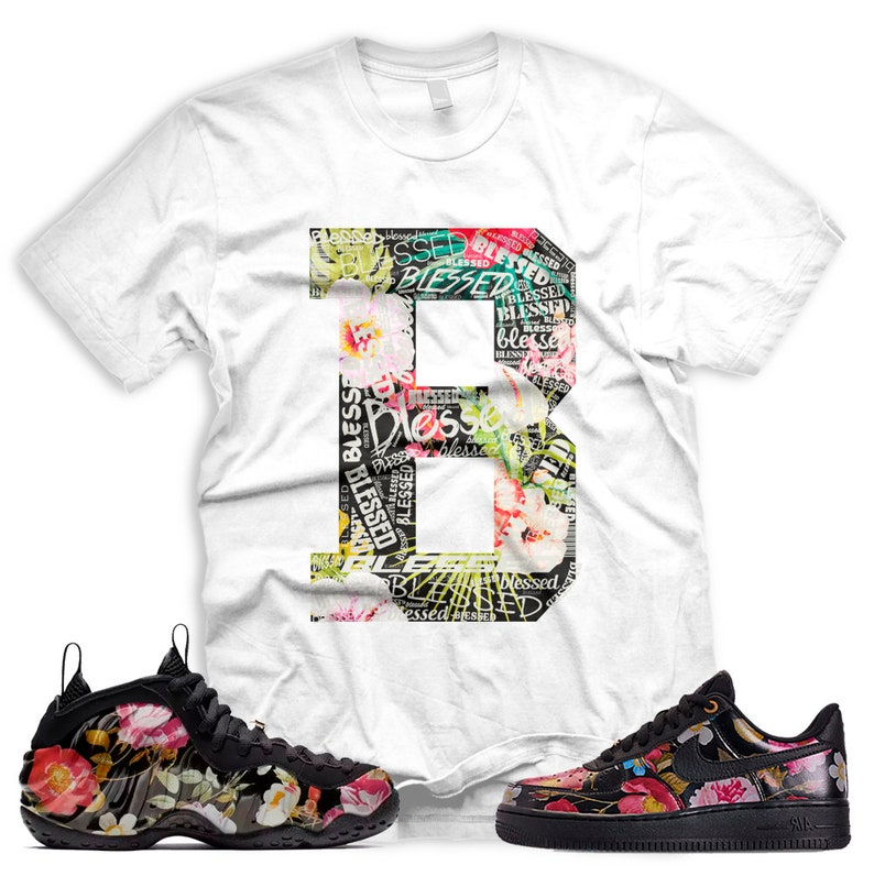 292f917e2e6bd New White B BLESSED T Shirt for Nike Floral