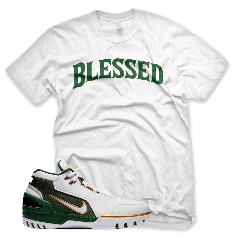 premium selection 99ebd a55b8 New Bw Blessed T Shirt for Lebron ZOOM GENERATION SVSM 15 Green Gold
