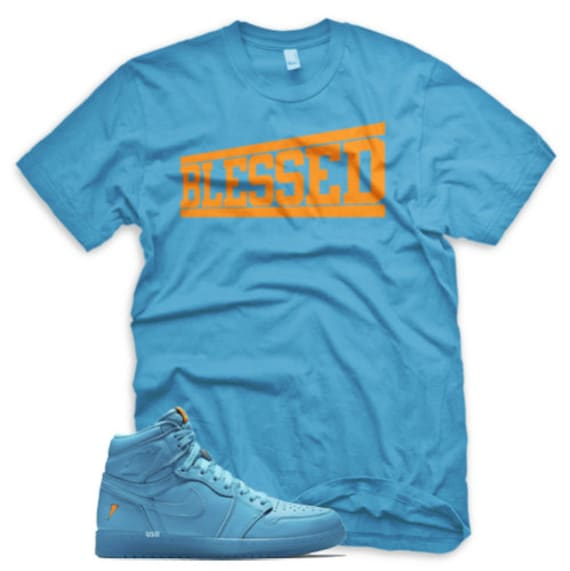 official photos ecf1b 23342 BLESSED T Shirt for Jordan 1 Retro Cool Blue Lagoon Gatorade Purple Lime  Orange