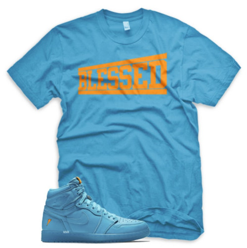 4e6e2a349b989b BLESSED T Shirt for Jordan 1 Retro Cool Blue Lagoon Gatorade