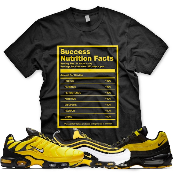 New SUCCESS FACTS T Shirt for Nike Air Max Plus 97 95 Frequency Pack Black Yellow