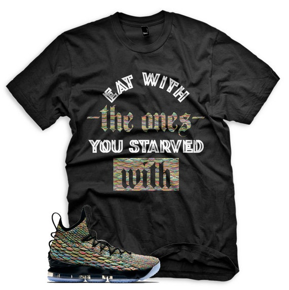 sports shoes 7df5a cdcdc New Black Starved T Shirt for Lebron 15 Four Horsemen Fruity Pebbles XV  MultiColor
