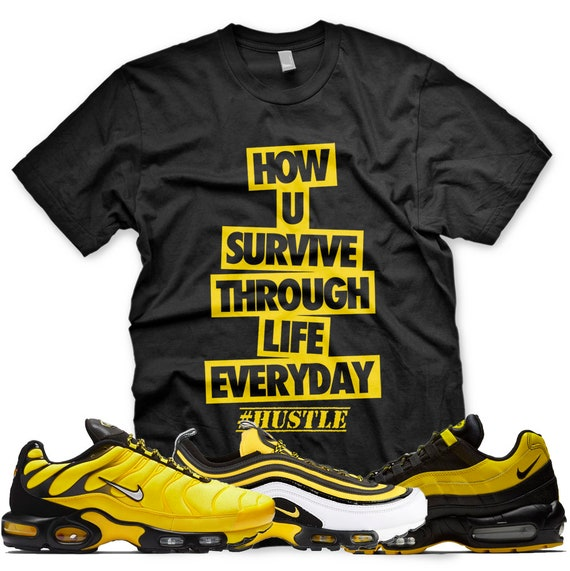 New HUSTLE T Shirt for Nike Air Max Plus 97 95 Frequency Pack Black Yellow
