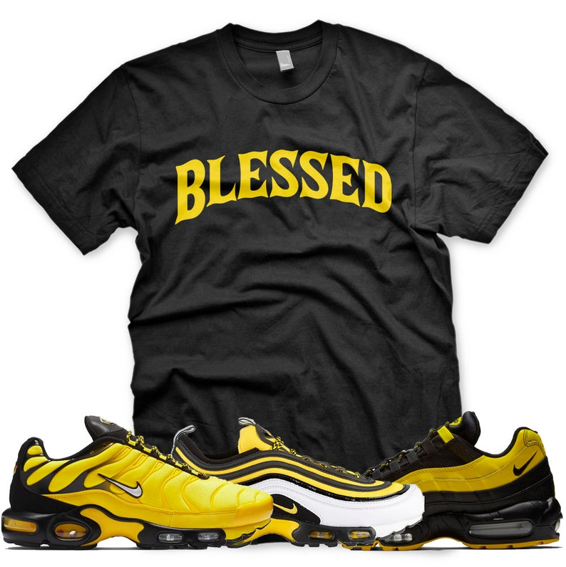 super popular aacb4 6d857 New BW BLESSED T Shirt for Nike Air Max Plus 97 95 Frequency Pack Black  Yellow