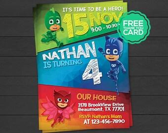 PJ Masks Invitation Pj Invite Party Birthday Card Connor Catboy Amaya Owlette Gekko Digital