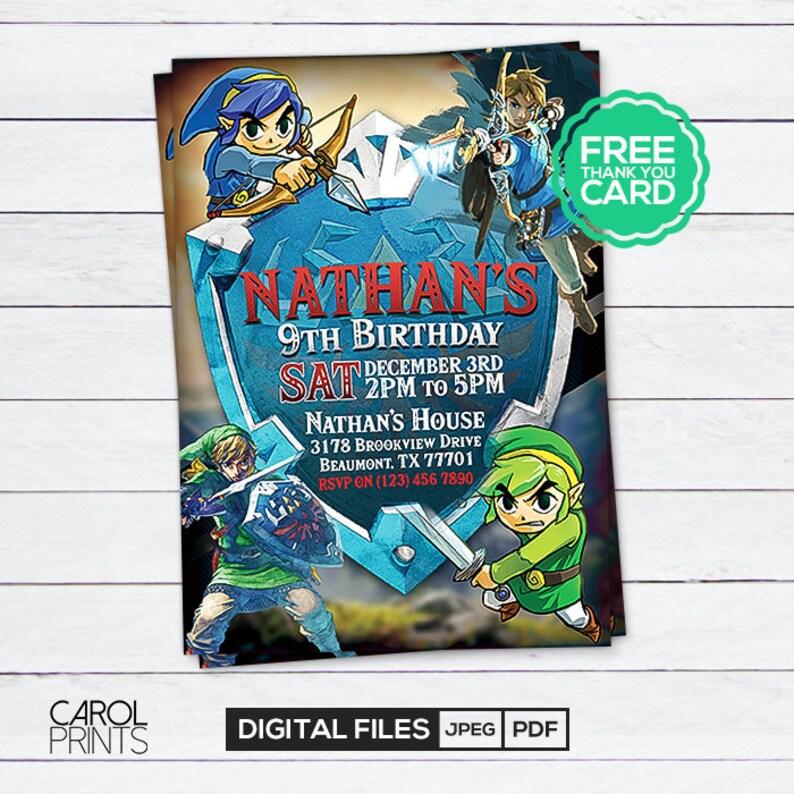 Legend Of Zelda Invitation Invite