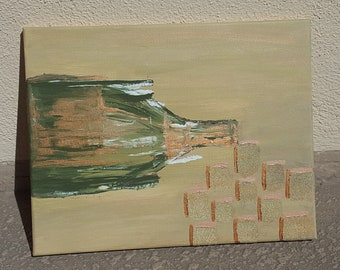 """Bubbly--Mixed Media Abstract Acrylic Painting--Glass Bead Gel Medium--Metallic Copper--Champagne Bottle--Stretched Canvas--11"""" x 14"""""""