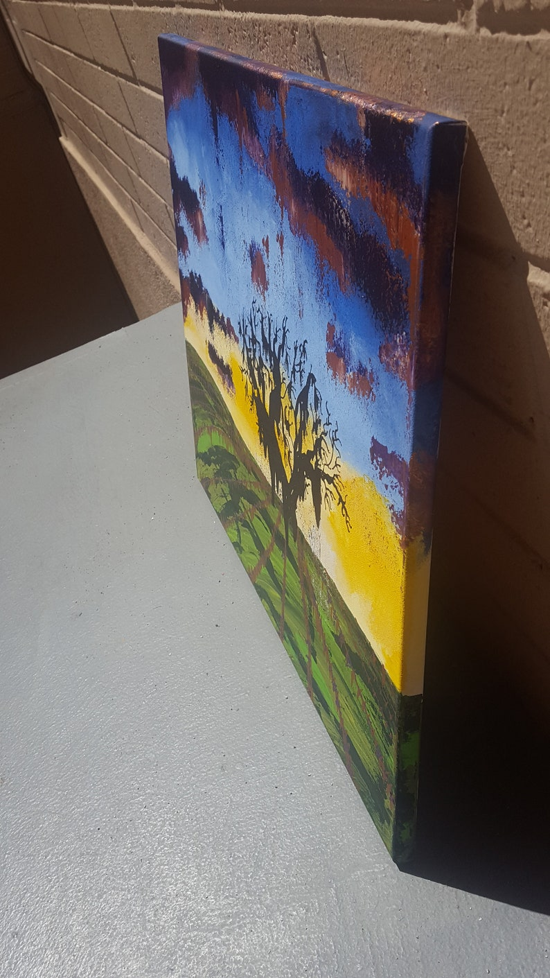 Metallic Copper--Stretched Canvas--20 x 24 El Paso de Robles--Abstract Acrylic Painting--Sunset Vineyard Scape-