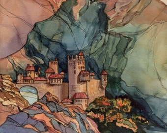 Castle by mountain Original watercolor painting