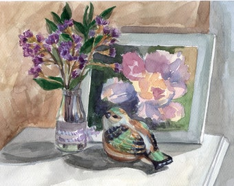 Still Life with bird and flowers Original watercolor painting