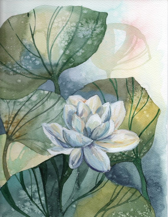 Water Lily Flower Original Painting Etsy