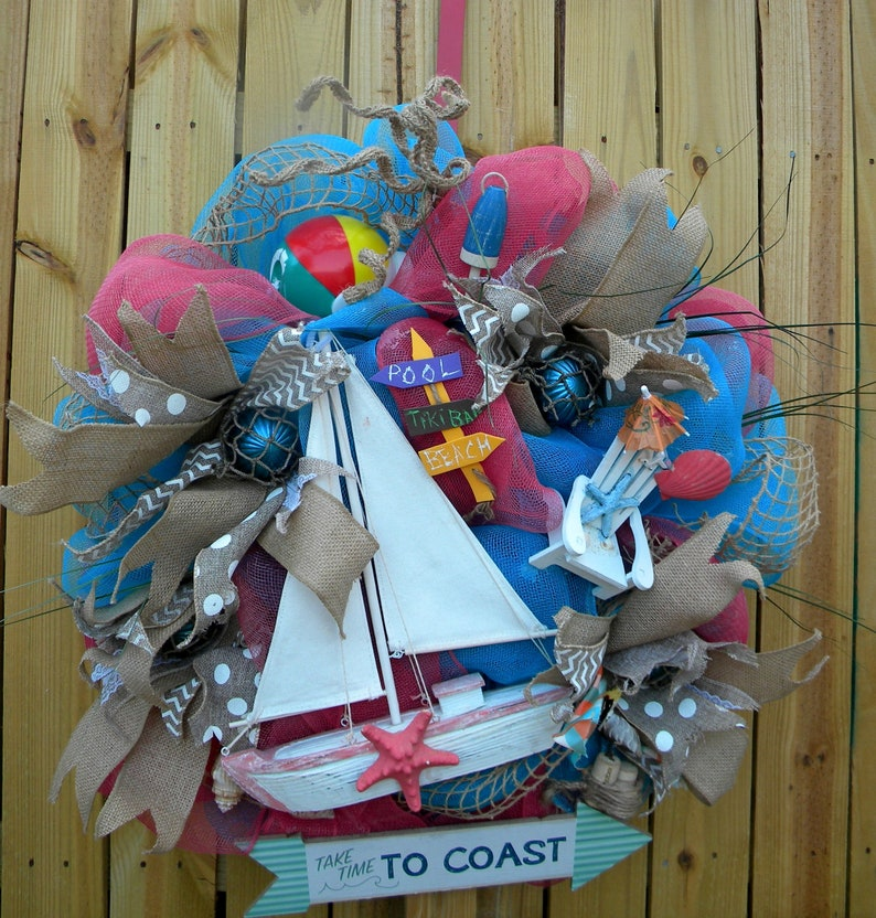 Beach arrow wooden sign blue summer tropcial wall decor or wreath accent