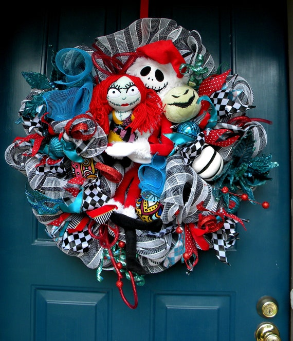 Jack Skellington Christmas.Jack Skellington Christmas Mesh Wreath Nightmare Before Christmas Mesh Wreath Holiday Wreath Christmas Wreath Sandy Claws Oogie Boogie