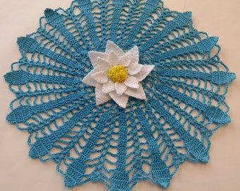Hand Crocheted Doily with Center Flower