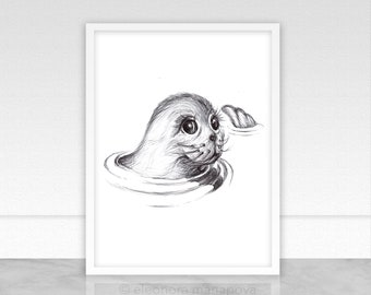 Seal Print Baby Seal, Animal Wall Art, Instant Download, Nursery Decor, Printable Art, Digital Print Baby Animals, Black and White