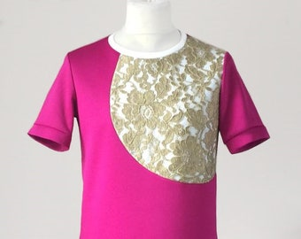 Golden lace overlay with pink contrast t-shirt