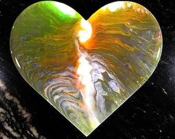 Fluid Art Heart, Wood Heart Plaque, Abstract Heart, Liquid Painting, Acrylic Pour Heart, Pour Art, Acrylic Pour Painting