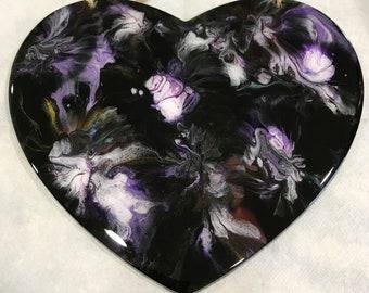 Fluid Art Heart Wall Plaque, Wood Heart, Abstract Art, Liquid Painting, Acrylic Pour Heart, Fluid Pour Art, Acrylic Pour Painting, Wall Art