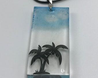 Palm Tree Pendant, Palm Tree, Necklace, Jewelry, Resin Jewelry, Clouds, Sky