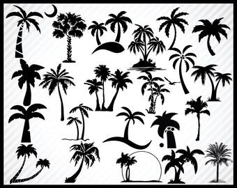 22 Palm Tree SVG, Cut Files Bundle, Clipart, Vector, Cutable, Printable, Transparent Background, Instant Download